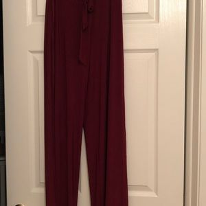 Maroon side slit dress pants